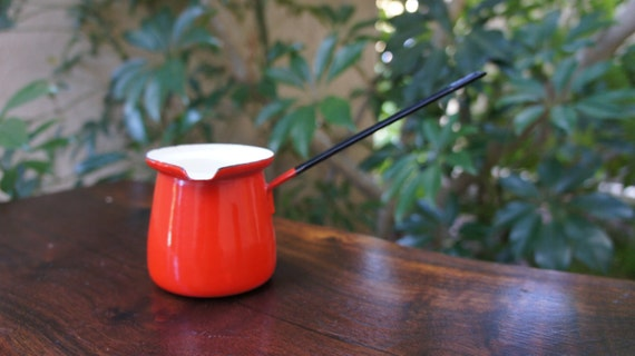 Red Enameled Vintage Butter Warmer, Syrup Warmer, Turkish Coffee Maker, Ladle, Made in Poland, Enameled Kitchenware