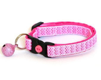 Chevron Cat Collar - Pink on White Chevrons - Small Cat / Kitten Size or Large Size
