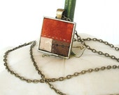 Orange Quilt Necklace Pendant Patchwork Brown Cream Antique Gold