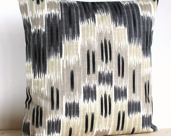 Grey and Beige Ikat Pillow Cover - 18 Inch Ikat Cushion Cover Pillow Sham - Ikat Zigzag Neutral