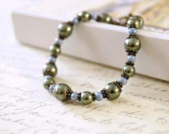 Olive Green Pearl Bracelet, Vintage Style Bracelet