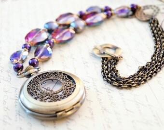 Bold Purple Pocket Watch Necklace, Long Necklace