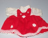 Vintage Doll Clothes Dress Red and White tiny dress