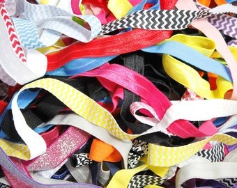 GRAB BAG 10 to 100 yards Printed and Solid Fold Over Elastic  Headbands Hair Ties Assortment - Hairbow Supplies, Etc.