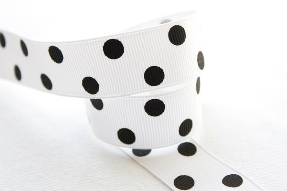White Grosgrain Ribbon with Black Polka Dots 7/8 inch - Choose 1, 5, 10 or 50 yards - Hairbow Supplies, Etc.