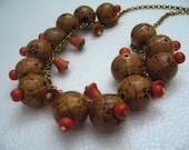 Vintage novelties wood & brass painted balls and bells chain necklace