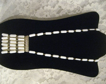 Fabulous ETHNIC WHITE NECKLACE - New Old Stock -