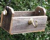 Hooked on Birds - Hanging Wood Bird Feeder, Recycled & Vintage Materials