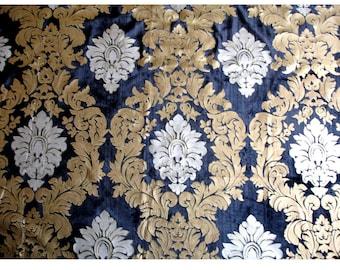 Royal Crown - Black Velvet Fabric With Silver Print And Slub Effect