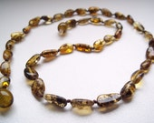 Greenish   Natural BALTIC AMBER Necklace. 18.5  inches.