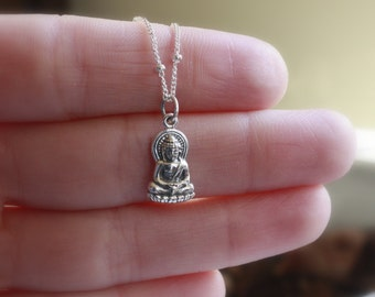 Silver Buddha Necklace - Sterling Silver Buddha Pendant . Yoga Jewelry . Buddhism . Spirituality . Be Here Now