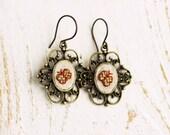 Butterfly earrings - vintage style earrings - embroidered butterflies - golden butterfly - e008