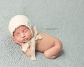Newborn Bonnet - Cotton and Lace Newborn Bonnet - Mint Rosette - Newborn Photo Prop - Abbey