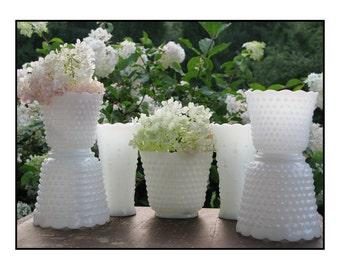 Vintage Milk Glass Hobnail Vase Collection of Seven