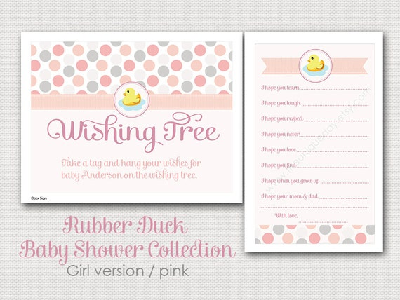 Items similar to printable baby shower wishing tree sign amp tags