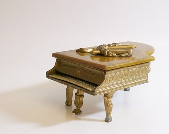 Vintage Box Grand Piano  1930's Gilt Metal Musical with Catalin Lid