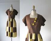 SALE vintage 1940s dress / 40s dress / Chocolate Banana
