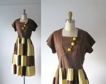SALE vintage 1940s dress / 40s dress / Chocolate Banana