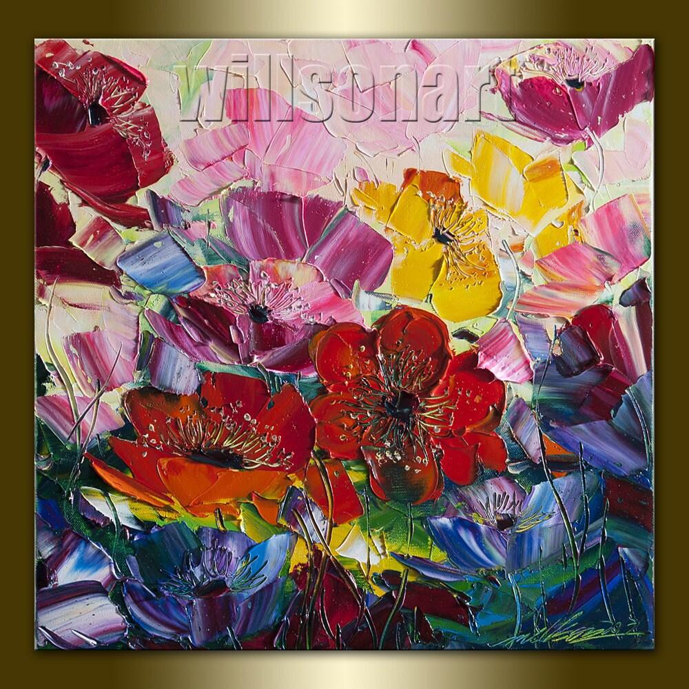 Poppy poppies floral canvas modern flower oil by willsonart for Modern flower paintings