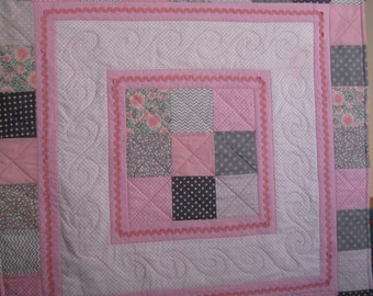 Pink Swirls and Squares Baby Quilt