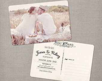 "Vintage save the date postcard, 4x6, Save the date card, Unique save the date ideas - the ""Jessa"""