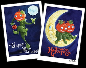 Set of 2 Vintage-inspired Jack-o-Lantern Pumpkin Halloween cards