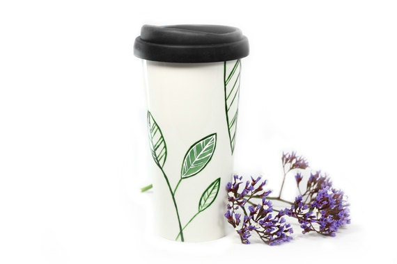 Ceramic Coffee Mug with silicone black lid -  Green & White Leaves Botanical Minimalist Modern Eco Friendly Decorative Unique Art