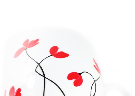 Hand Painted Ceramic Cup With Flowers Tea Mug Minimalism white red poppies flower botanical garden spring design