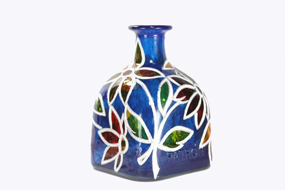 "Hand Painted Glass ""Patron"" bottle Cobalt Blue - order for Kaisha"