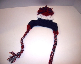 Betty Beagle's Adorable Crochet New England Patriots colors Dog Hats Hand made by Kams-store.com