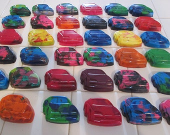 Cars Recycled Crayons - Cars Birthday Theme Party Favor - Blue, Red, Green, Orange, Multi-colored