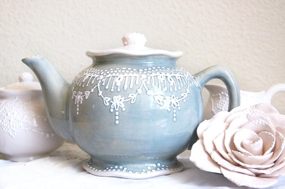 Soft GreyTeapot for Serving Tea, Pretty Hand Painted Lace Teapot for Home and Kitchen, Teapot Gift