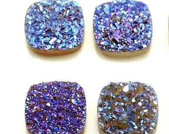 Grade AAA 2 Pieces Rainbow Blue Purple Square Calibrated Druzy Agate Cabochon 10mm B46DR1889