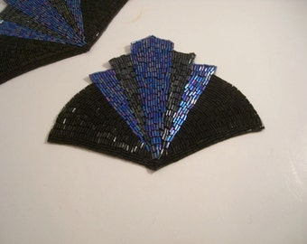 Black and Royal and Gunmetal Deco Design Beaded Applique--One Piece