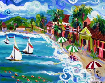 Landscape Beach Vacation Sailboat Original Painting 24 x 30 Art by Elaine Cory