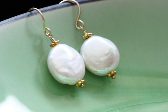 Lustrous Coin Pearl 14k Gold Filled Earrings Large AAA Freshwater June Birthstone Bridal Wedding Simple Everyday