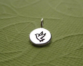 Sterling Silver Stamped Flying Dove Disc Tag Charm