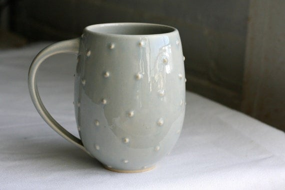 Pottery Coffee Mug - Polka Dot Belly Mug - Large Ceramic Cup - Pale Blue