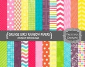Digital Rainbow Paper Pack  - Personal and Commercial Use - Girly Rainbow Grunge