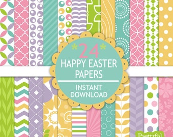 Digital Scrapbooking Printable Pattern Paper Pack Instant Download Happy Easter