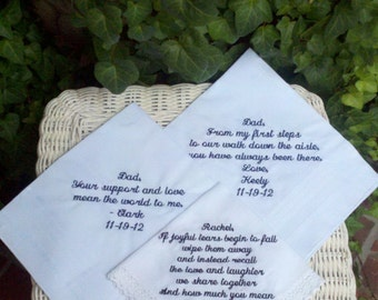 Elegant Set Of 3 Custom Embroidery Wedding Handkerchief