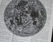 BOGO SALE Dictionary Art Print The Moon Print  Dictionary Art Dictionary Print
