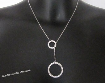 Circles Lariat Necklace, Pendant Necklace, Jewelry, Gift