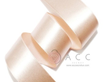 Peach Pink Single Faced Satin Ribbon - 5mm(2/8''), 10mm(3/8''), 15mm(5/8''), 25mm(1''), 40mm(1 1/2''), and 50mm(2'')