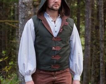 Vest, Arrow Hooded Vest or Doublet, Made to Order