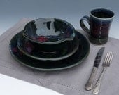 Stoneware Pottery Dinnerware Place Setting Black