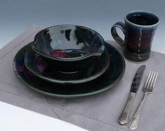 Stoneware Pottery Dinnerware Place Setting Black