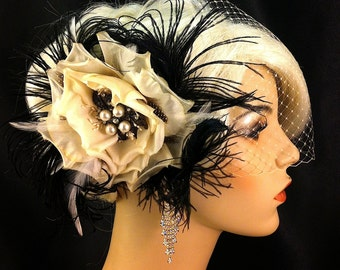 Bridal Flower Fascinator, Wedding Head Piece, 1920s Headpiece, Bridal Headpiece, Great Gatsby Headpiece, Wedding Hair Clip, Wedding Veil