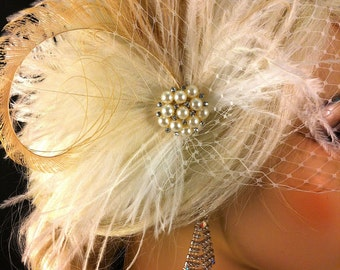 Fascinator, Bridal Feather Fascinator, Bridal Headpiece, Wedding Veil, Wedding Fascinator, Feather Fascinator, Ivory, Pearls