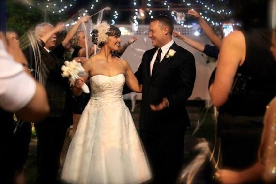 Rock On  - Bridal Feather Fascinator- Rhinestone Hair clip, Bridal Headpiece, Wedding Veil, Wedding Fascinator, Feather Fascinator, Ivory